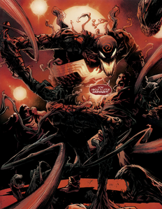 Cletus Kasady (Earth-616), Grendel (Klyntar) (Earth-616), and Mania (Klyntar) (Earth-616) from Free Comic Book Day Vol 2019 (Spider-Man Venom) 001