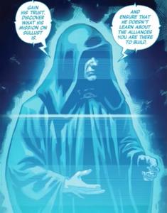 Darth Sidious hologram comic
