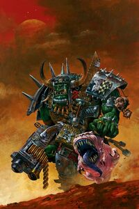 Ork Warboss with pet attack squig