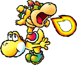 Baby Bowser on Yoshi YIDS artwork