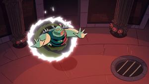 S1e1 buff frog comes through the portal