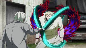 Tokyo Yamori using his kagune to block Kureo's quinque