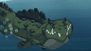 Cragadile Chrysalis swims through water S9E8