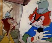 J Worthington Foulfellow and Gideon in Disney's Pinocchio