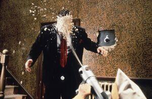 Ocious Potter accidentally sprayed by Jeff's foam