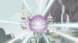 Flashback of the changelings blasted from Canterlot by Shining Armour and Princess Cadance's love