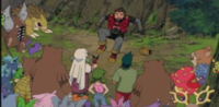 The Marauder surrounded by angry forest Pokemon