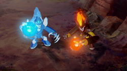 Glacius and Swelter charging up