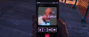 Aaron on Miles phone
