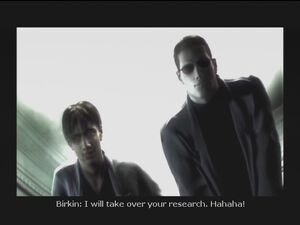 Birkin and Wesker killing James Marcus