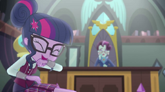 Twilight Sparkle and Principal Cinch laughing EG3b