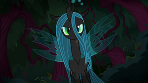 Queen Chrysalis emerging from the shadows S8E13