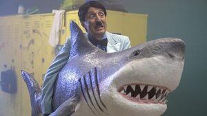 Hitler holding a shark