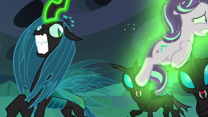 Queen Chrysalis hurls Starlight across the room again S6E26