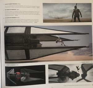 Rey jumps Kylo's TIE concept art