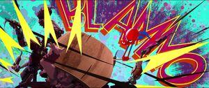 Spider-Man hitting Scorpion's head