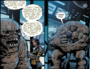 Clayface and cassandra hugs.