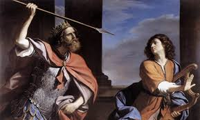 King Saul About to Kill David