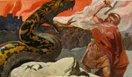 Thor and the Midgard Serpent Emil Doepler painting.