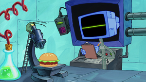 SpongeBob SquarePants Karen the Computer and Plankton in Chum Bucket