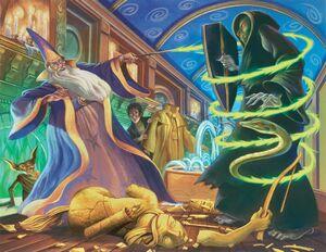 Dumbledore vs. Voldemort Pottermore depiction