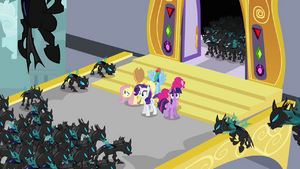 The changelings surronding the Mane Six
