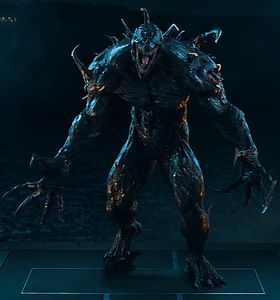 Carlton Drake (Earth-TRN688) and Riot (Klyntar) (Earth-TRN688) from Venom (film) 001