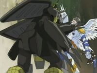 BlackWarGreymon confronting Angemon
