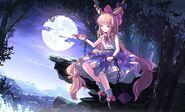 Horns ibuki suika moon night risutaru touhou tree 2069x1254