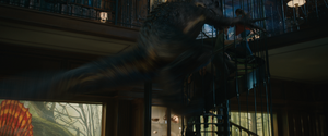 Indoraptor attacking Owen, Claire and Maisie on the Stairway