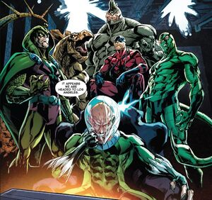 Savage Six (Kraven's) (Earth-616) ,Adrian Toomes (Earth-616) Vincent Stegron (Earth-616), Aleksei Sytsevich (Earth-616) ,Anton Miguel Rodriquez (Earth-616) and MacDonald Gargan (Earth-616) from Amazing Mary Jane Vol 1 11 0001
