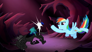 Rainbow Dash punches a changeling in a rotten apple in her dream