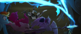 Window shatters behind the Mane Six MLPTM