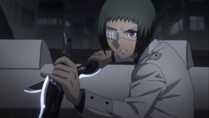 Tooru with knives in the anime