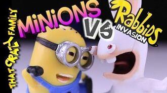 Minions vs Rabbids EPIC Toy Battles!! ThatCrazyFamily
