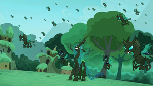 Queen Chrysalis with her changeling army at Zecora's village