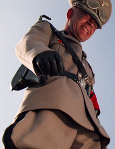 The evil German Standartenführer ejaculates in his jodhpurs in sadistic triumph