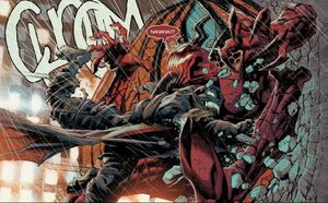 Cletus Kasady (Earth-616), Edward Brock (Earth-616), Grendel (Klyntar) (Earth-616), and Venom (Klyntar) (Earth-616) from Absolute Carnage Vol 1 5 001