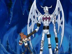 IceDevimon and Rika.