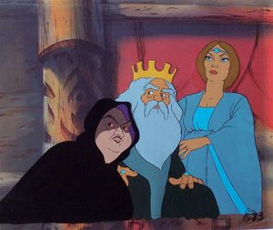 Grima the Wormtongue, King Theoden and Eowyn in the Golden Hall 3 cel