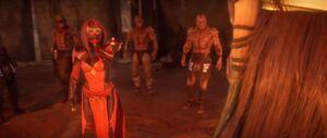 Skarlet sees through Liu Kang's disguise