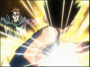 Gon about to hit Genthru with his jajanken Rock
