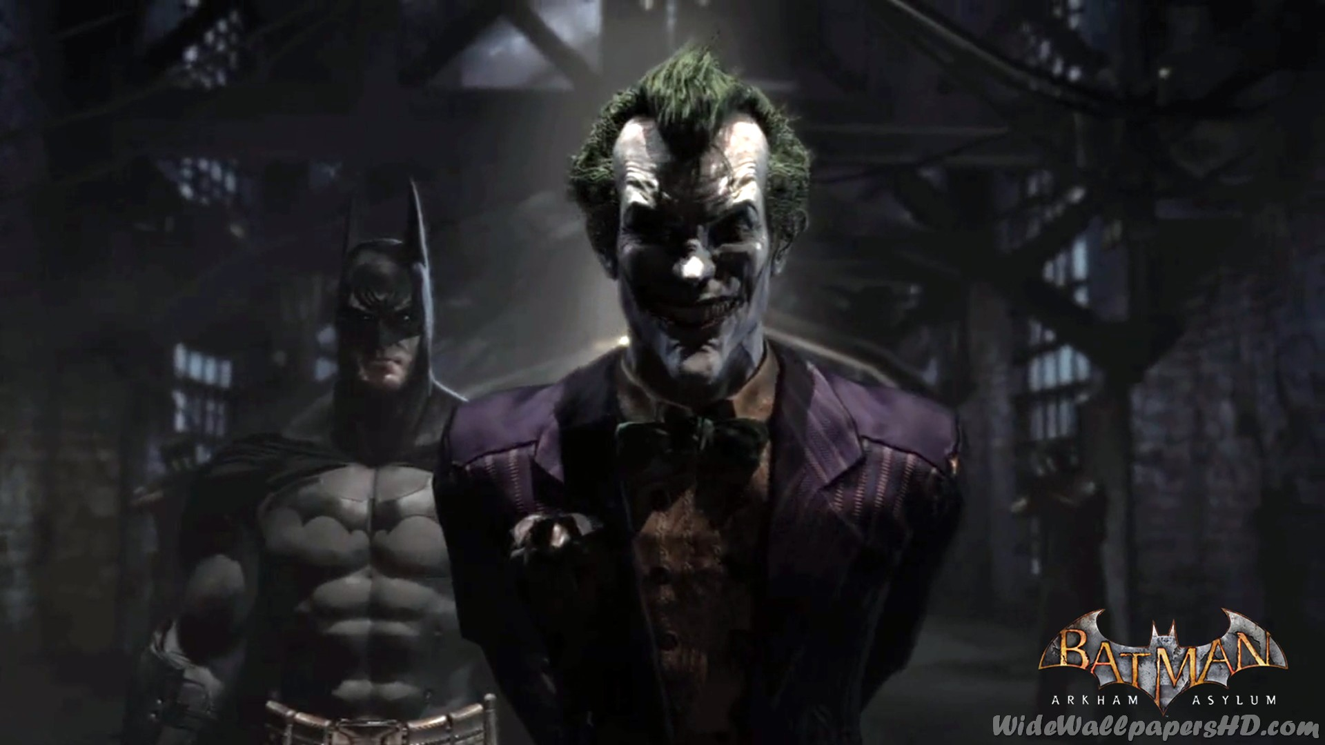 image - batman-with-joker-in-pen-batman-arkham-asylum-wallpapers