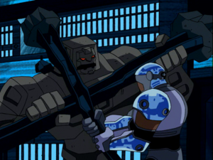 Cinderblock fighting Cyborg