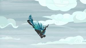 Queen Chrysalis dives toward the ground S9E8