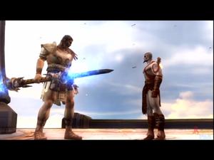 Theseus confronts Kratos