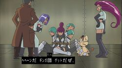 Looker and Team Rocket with Jupiter and Team Galactic Grunts.