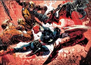 Cletus Kasady (Earth-616), Steven Rogers (Earth-616), Benjamin Grimm (Earth-616) and James Howlett (Earth-616) from Absolute Carnage Vol 1 4 001
