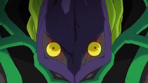 Mega Argomon's face close