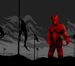 Bram Stoker's Dracula - Drcaula standing on the battlefield wearing his 15th century knight armor as seen in on the SNES
